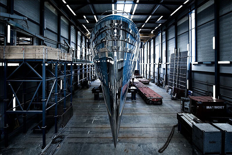Phi yacht in Royal Huisman's facility in Vollenhove