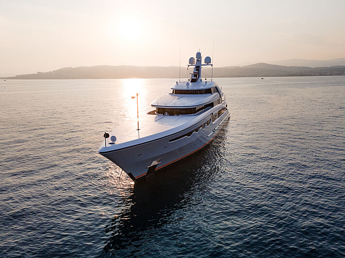 Soaring yacht in Antibes