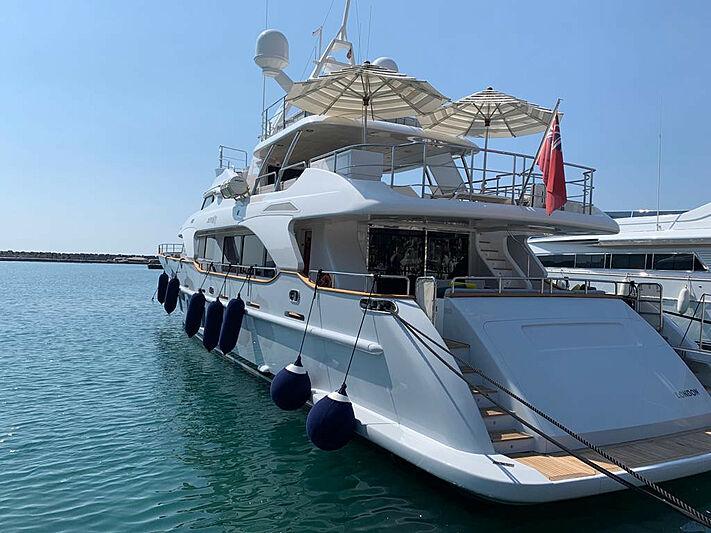 Serenity Mia yacht docked in marina