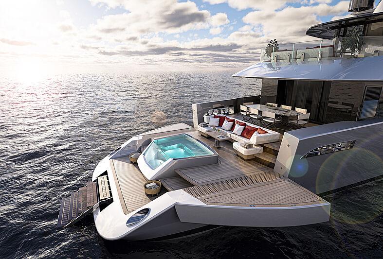Atlantique 37m yacht model transom