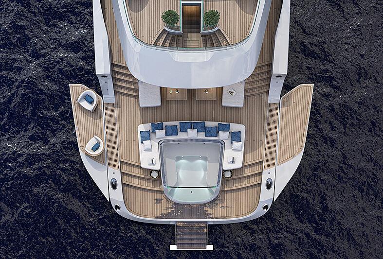 Atlantique 55m yacht model transom