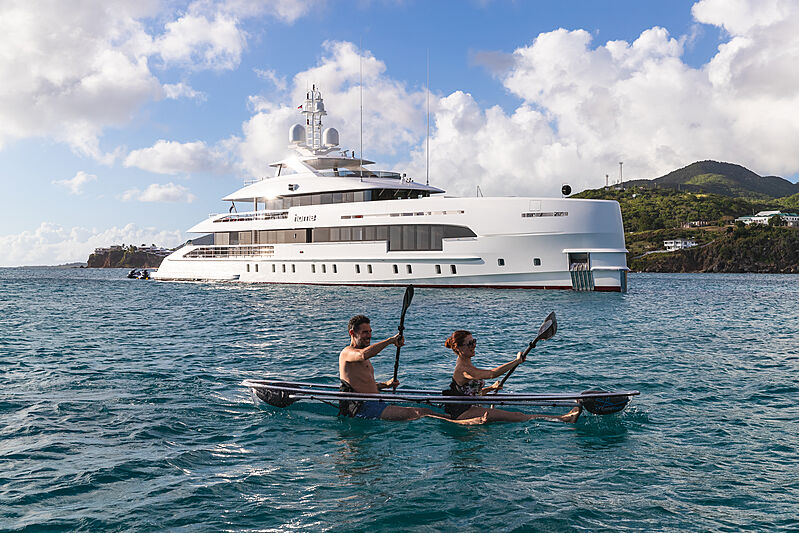 Home yacht at anchor
