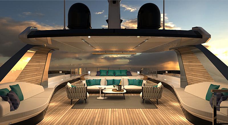 Atos 46 yacht concept render deck