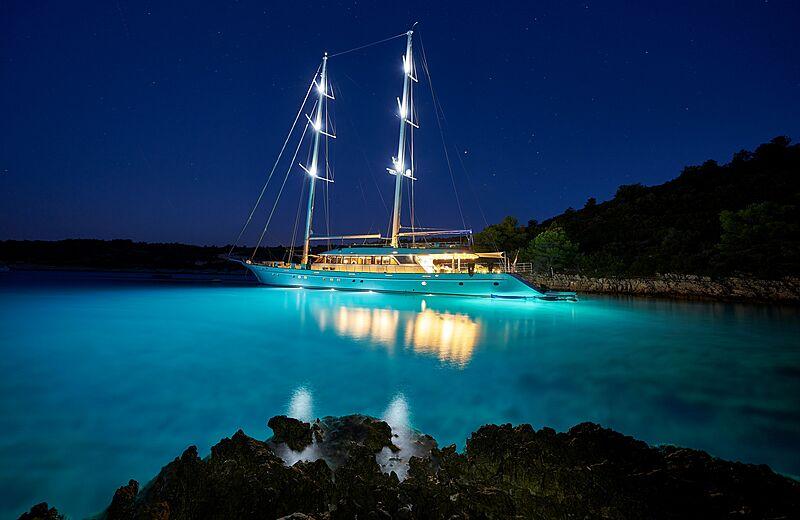 Lady Gita yacht anchored at night in Croatia