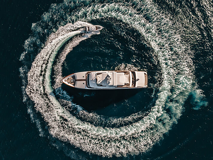 Moatize yacht anchored aerial