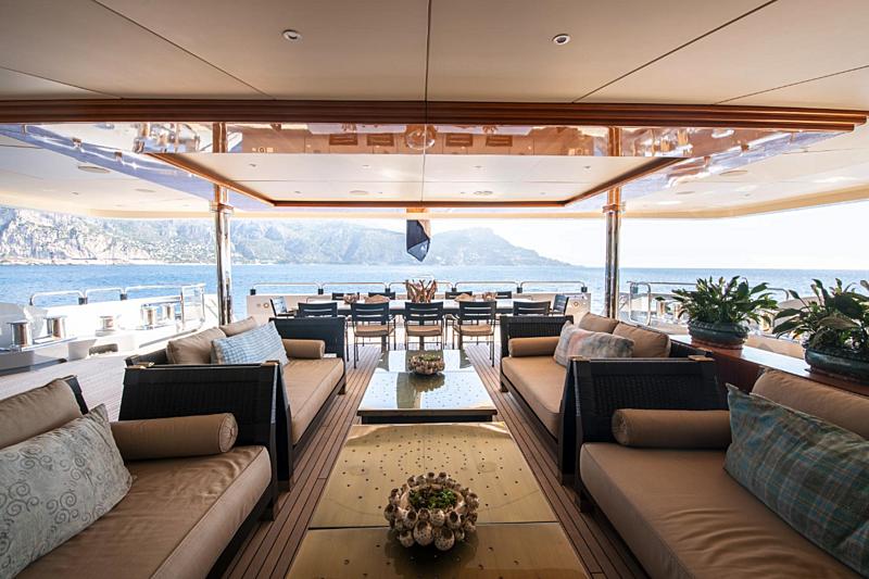 Azteca yacht aft deck