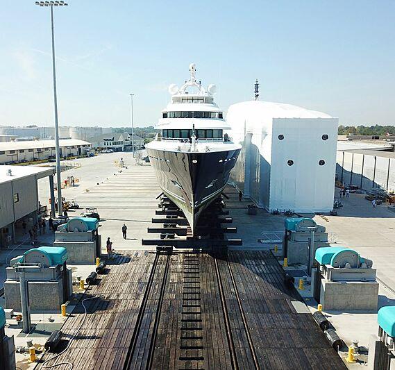 Amarylis yacht at the shipyard