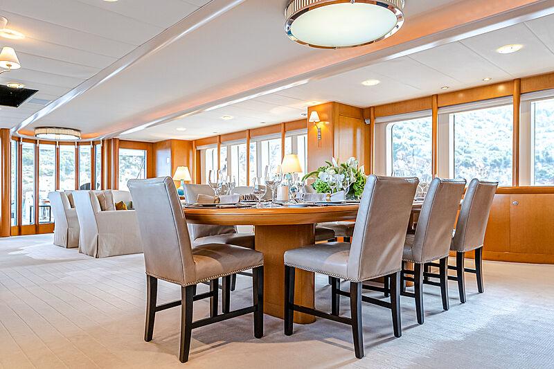 Gitana yacht dining