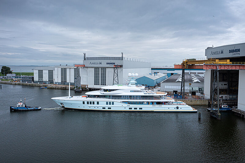 Amels 242 yacht Project Shadow launch in Vlissingen