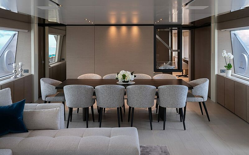 Adelia yacht dining