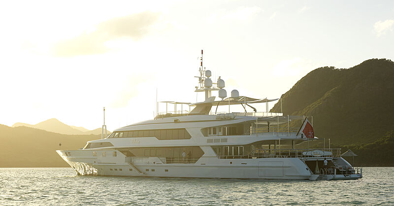 The Wellesley yacht anchored