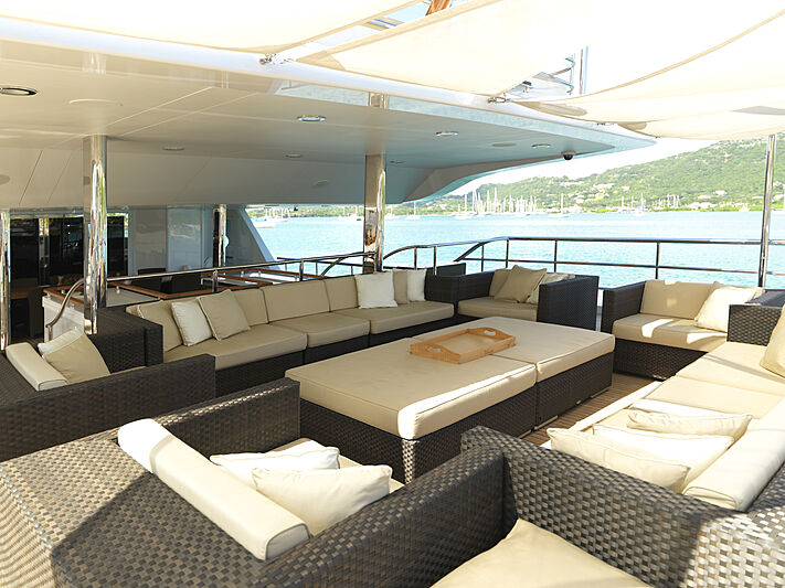The Wellesley yacht aft deck