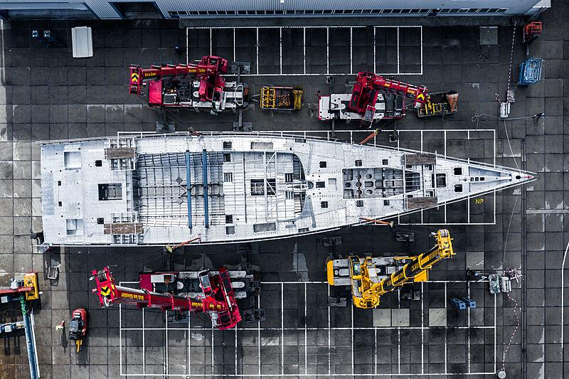 Nauta 151 yacht hull being turned