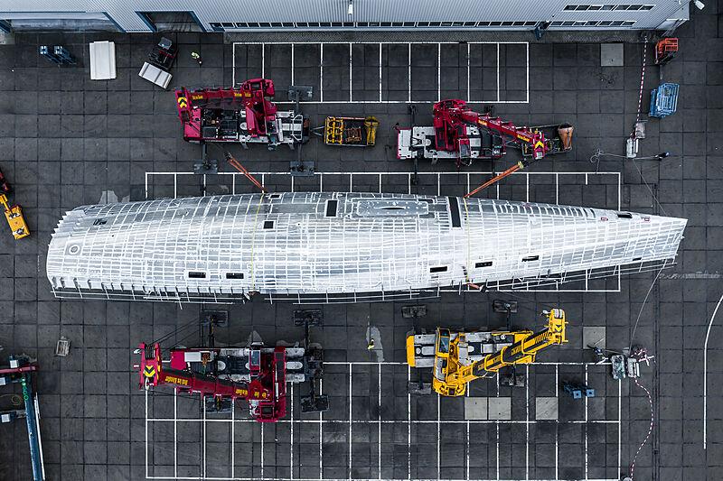 Royal Huisman RP Nauta 151 hull turning in Vollenhove