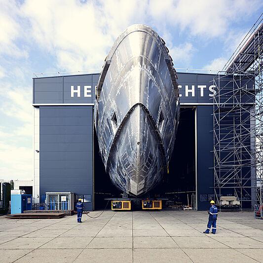 SkyFall superyacht hull in-build