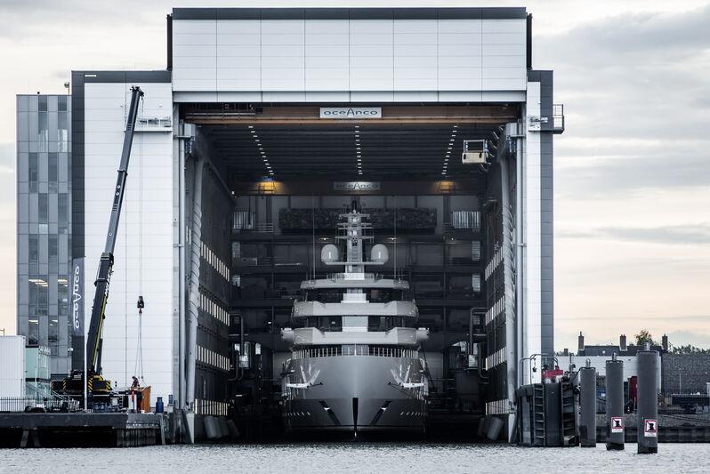 Oceanco Y719 launch in Alblasserdam
