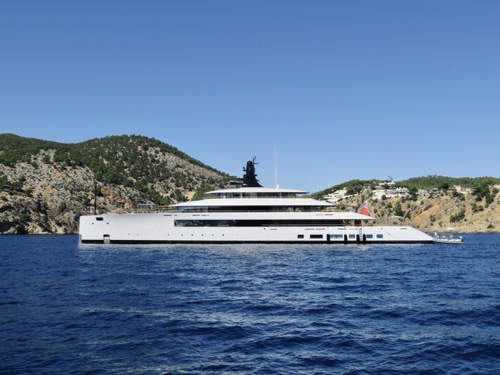 Pi yacht anchored off Cala Blanca Mallorca