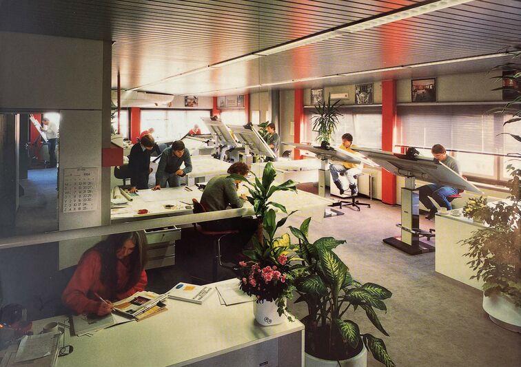 Diana Yacht Design studio in the 1980s