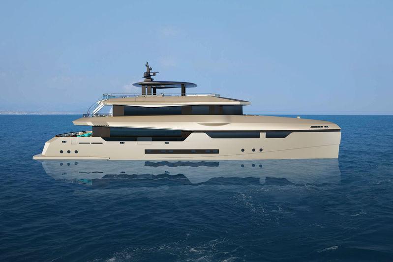 Heysea Yachts 140 Vista catamaran profile rendering