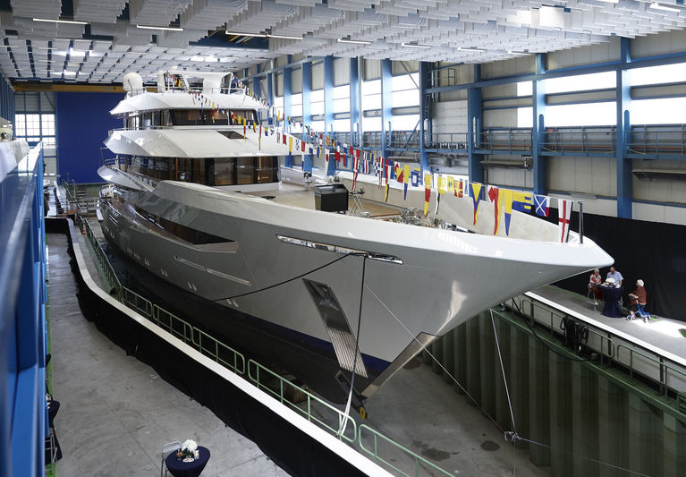 Joy in the shed before her launch in Kaag