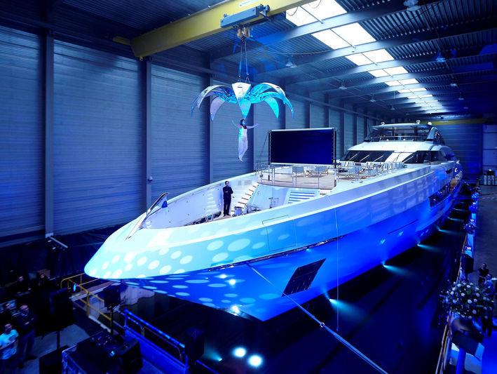 Galactica Super Nova launch in Heesen's Oss shipyard