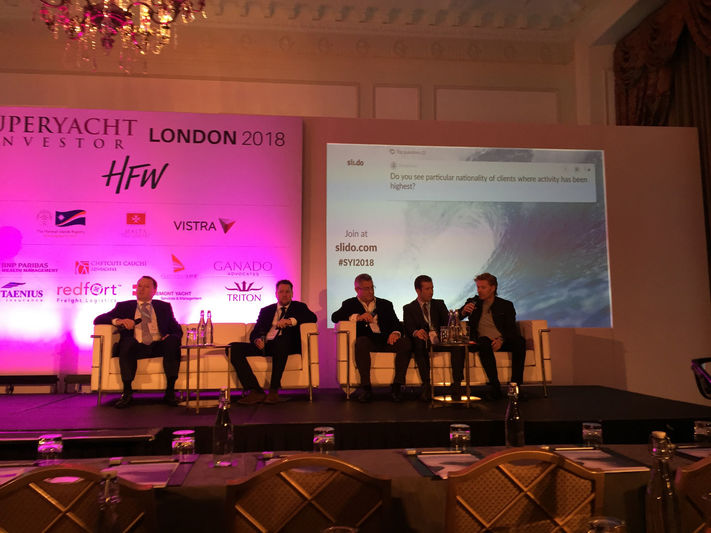 Jamie Edmiston and other speakers at Superyacht Investor London 2018