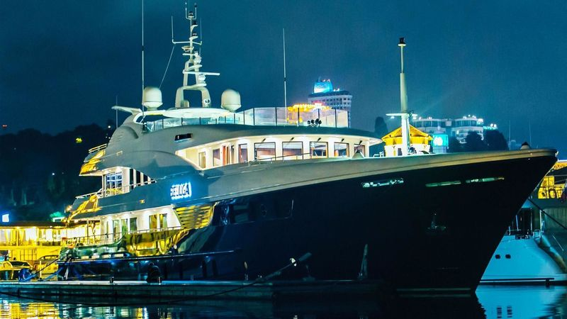 Beluga at night in marina