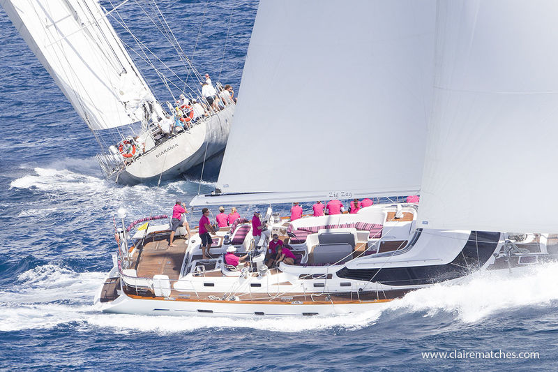 Marama and the Oyster 82 Zigzag at the Superyacht challenge Antigua 2018