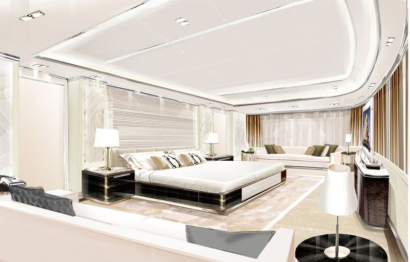 The 85m Golden Yachts O'Ptasia interior rendering