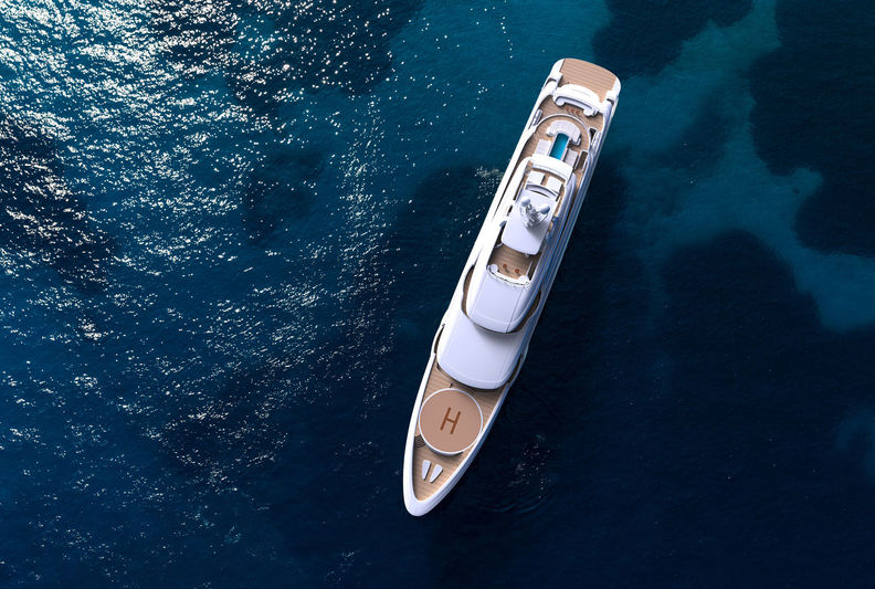 The 85m Golden Yachts O'Ptasia exterior rendering