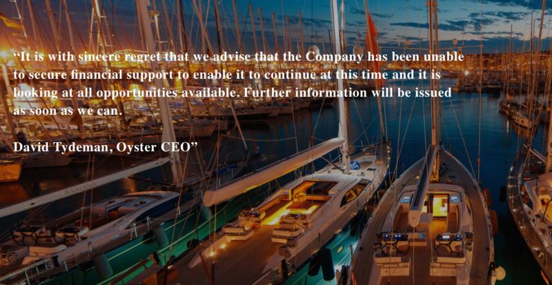 Oyster Yachts statement screenshot