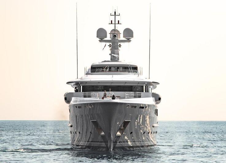 65m Amels superyacht Sea Rhapsody arriving in port