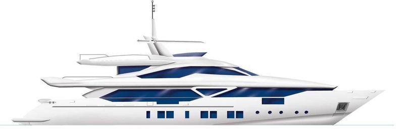 Benetti Veloce 140 profile rendering