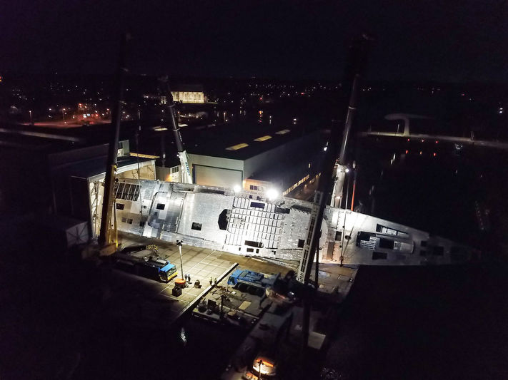 Project 400 hull flipover at Royal Huisman