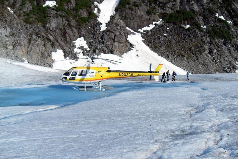 Helicopter through ice feilds in Alaska