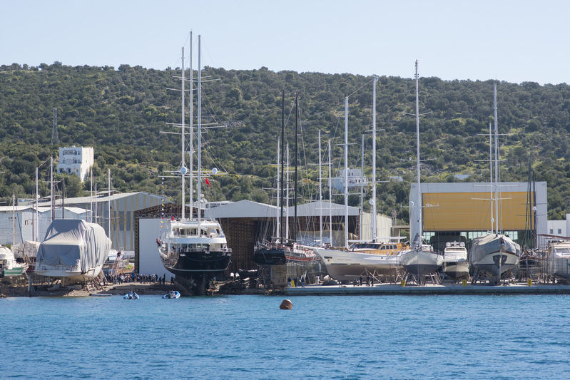 Meira ready to launch at Neta Marine in Bodrum