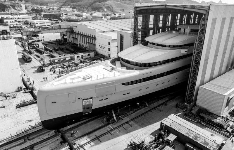 Illusion Plus rolled out of the shed at Pride Mega Yachts