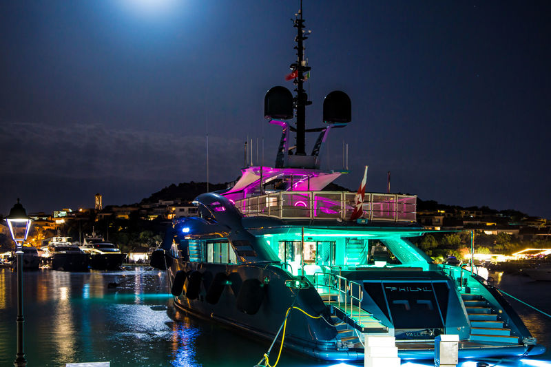 ISA superyacht Philmi at night in Porto Rotondo