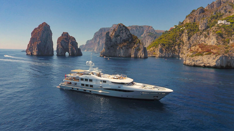 Amels yacht Astra anchored in Capri summer 2017