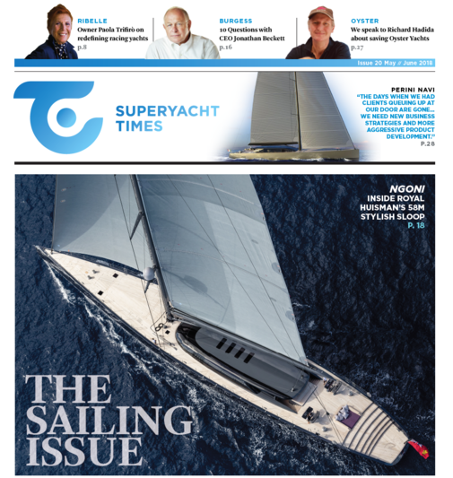 Cover of SuperYacht Times newspaper sailing edition