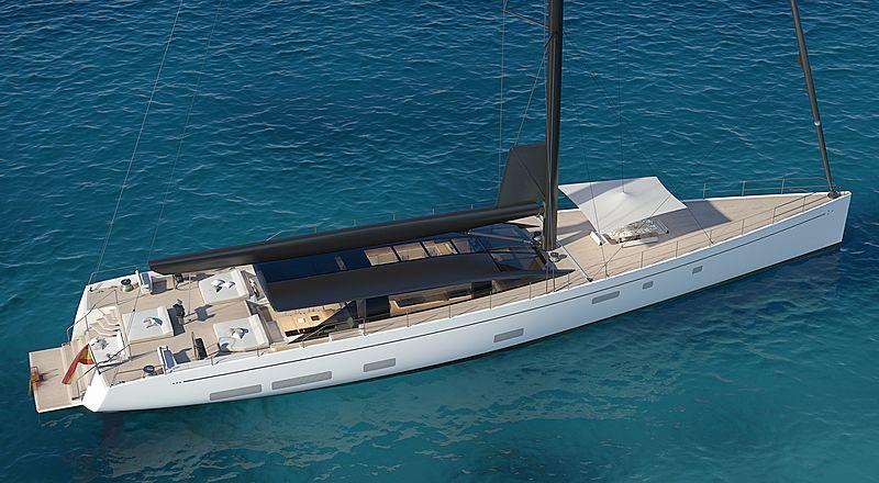 Perini Navi E-volution 42m sailing yacht rendering