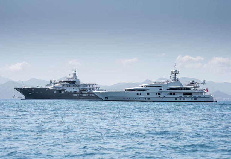 Andromeda and Anna I anchored off Cannes during CFF
