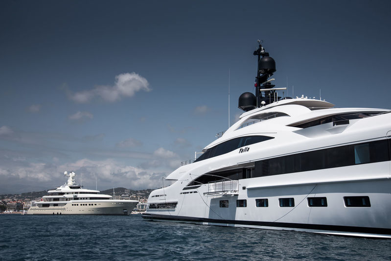 Yalla and Kibo anchored off Cannes during CFF