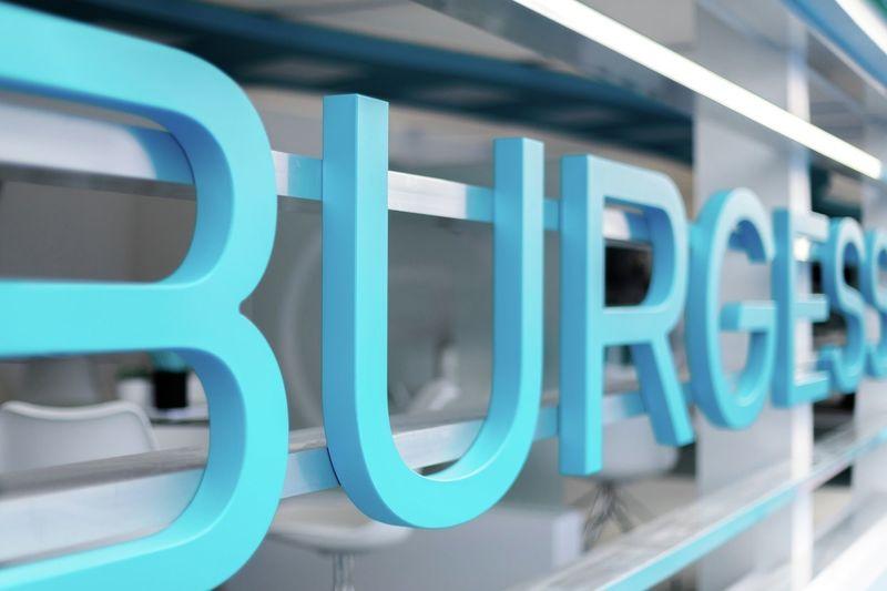 Burgess logo at stand