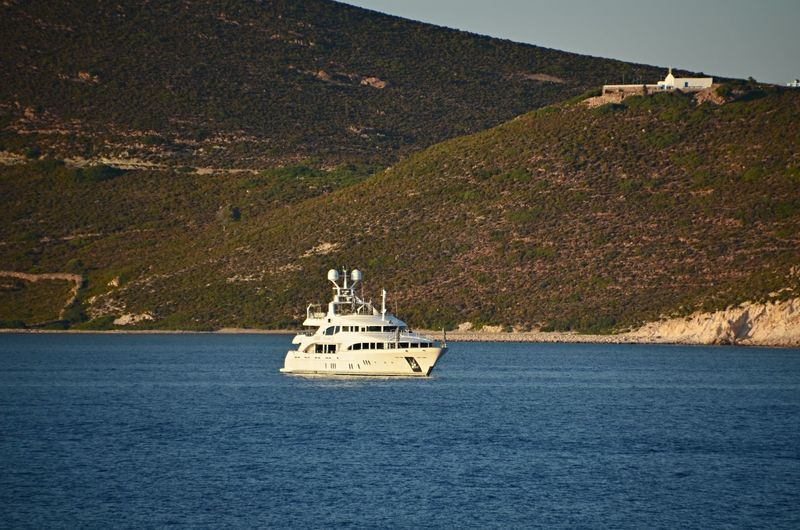 Palama anchored in the Mediterranean