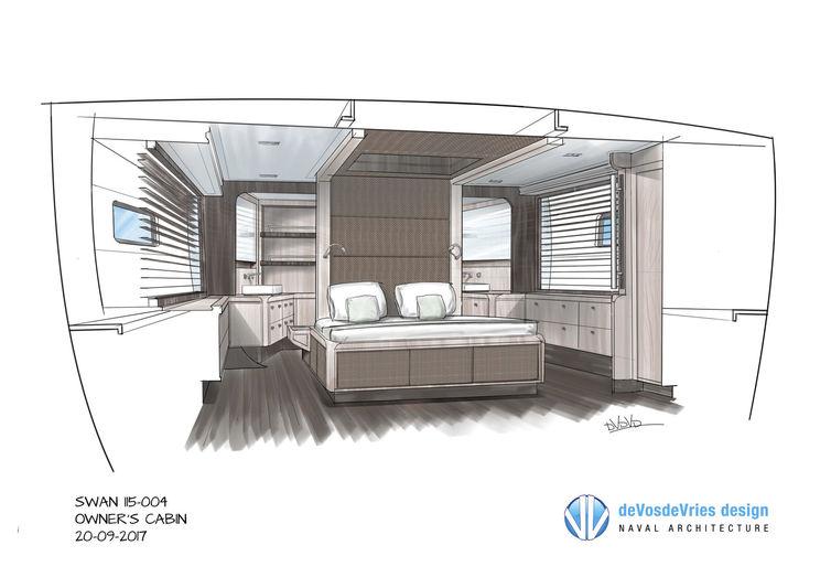 Nautor's Swan 115-004 master cabin desing