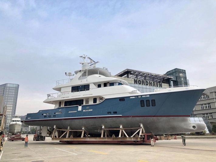 Nordhavn N100 Serenity ahead of her launch