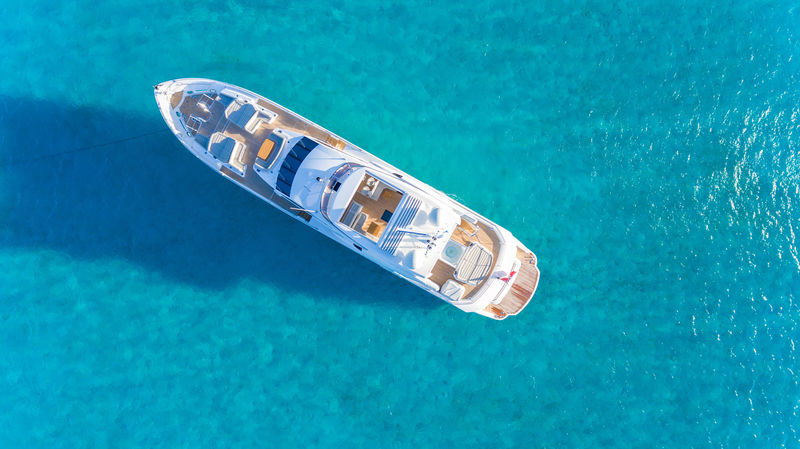 Sunseeker 116 Lost Boys aerial view in the Bahamas