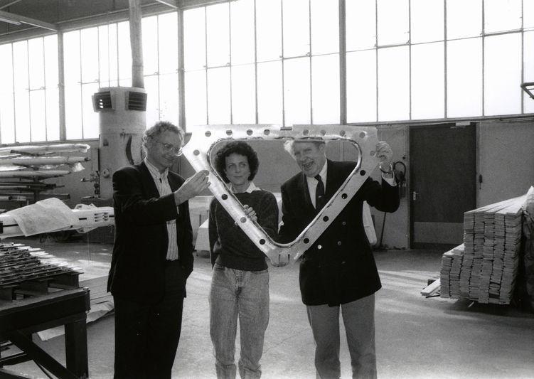 Gerard Dykstra, Elizabeth Meyer and Wolter Huisman at Royal Huisman