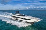 Custom Line 120 Vista Blue cruising in the Bahamas